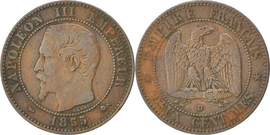 World Coins - FRANCE, Napoléon III, 2 Centimes, 1855, Lyon, KM #776.4, , Bronze, G...