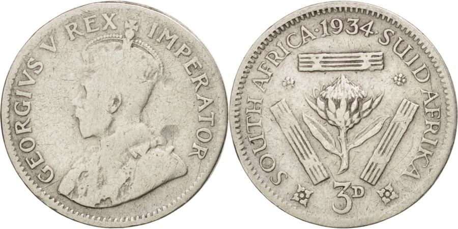 World Coins - South Africa, George V, 3 Pence, 1934, , Silver, KM:15.2