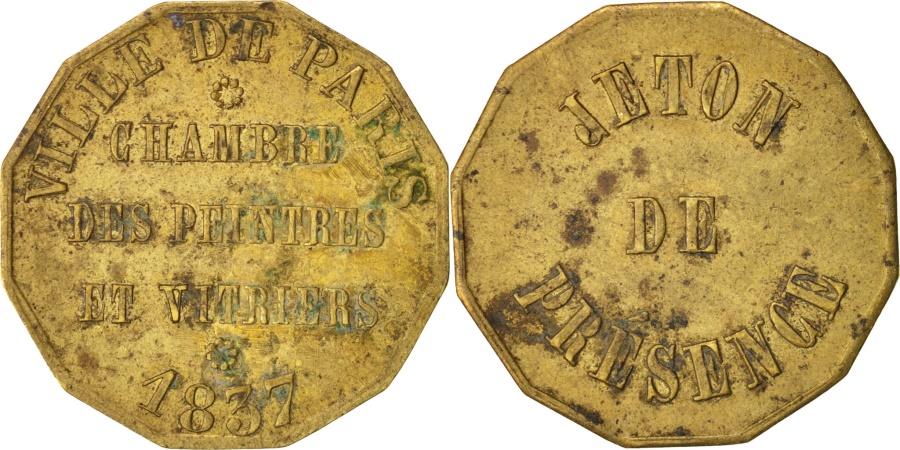 World Coins - France, Token, Ville de Paris, Chambre des Peintres et Vitriers, 1837