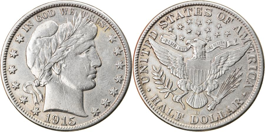 US Coins - Coin, United States, Barber Half Dollar, Half Dollar, 1915, U.S. Mint, Denver