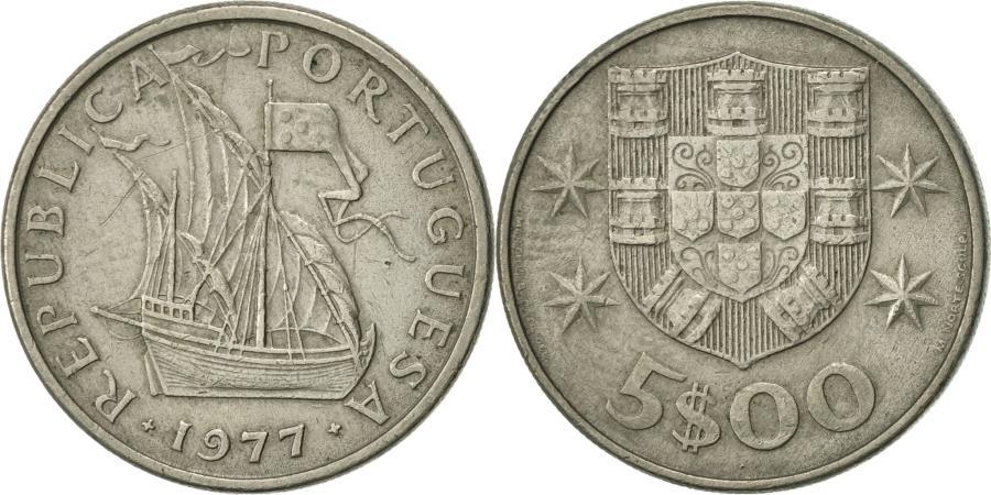 World Coins - Portugal, 5 Escudos, 1977, , Copper-nickel, KM:591