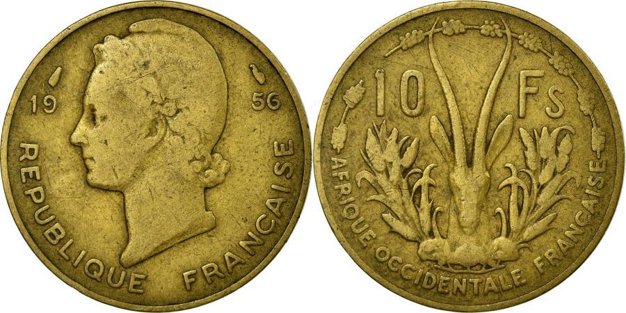 World Coins - Coin, French West Africa, 10 Francs, 1956, Paris, , Aluminum-Bronze