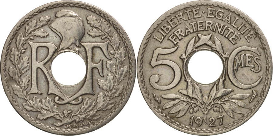 World Coins - France, Lindauer, 5 Centimes, 1927, , Copper-nickel, KM:875
