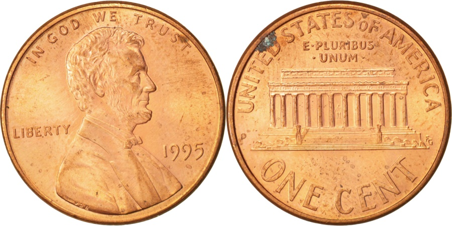 US Coins - United States, Lincoln Cent, Cent, 1995, U.S. Mint, Philadelphia,