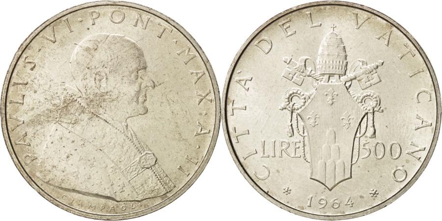 World Coins - VATICAN CITY, Paul VI, 500 Lire, 1964, Roma, , Silver, KM:83.2