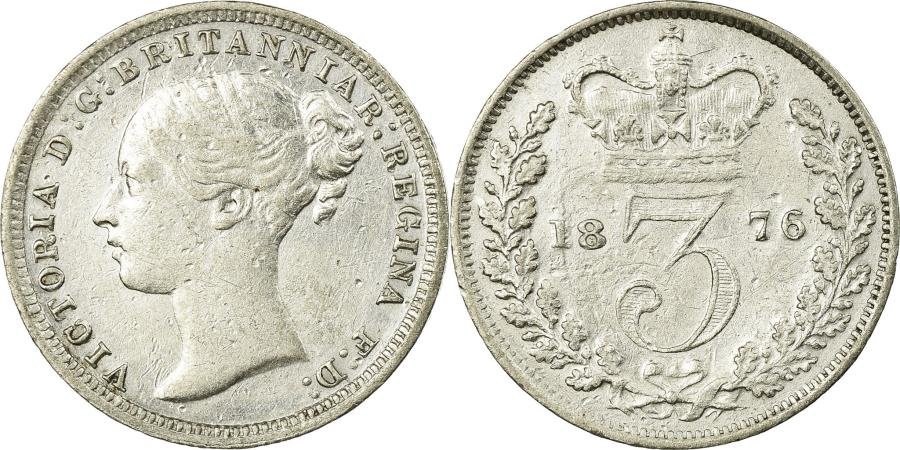 World Coins - Coin, Great Britain, Victoria, 3 Pence, 1876, , Silver, KM:730