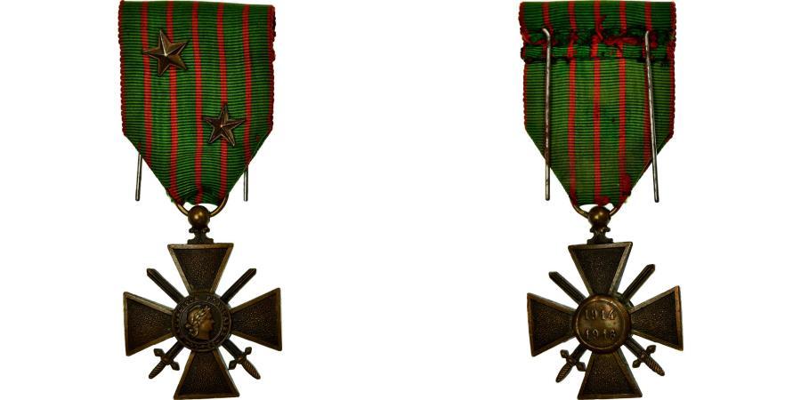 World Coins - France, Croix de Guerre, 2 Etoiles, Medal, 1914-1916, Excellent Quality, Bronze