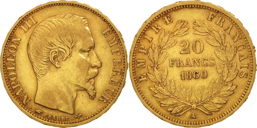 World Coins - France, Napoleon III, 20 Francs, 1860, Paris, , Gold, KM 781.1