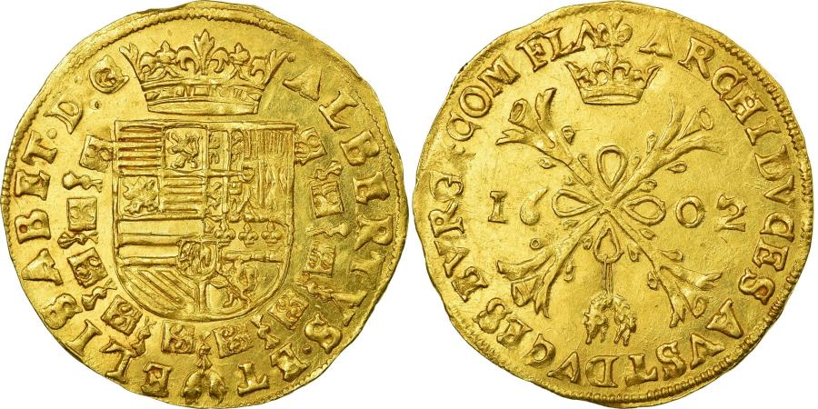 World Coins - Coin, Spanish Netherlands, Flanders, 2 Albertins, 1602, Bruges, AU(55-58), Gold