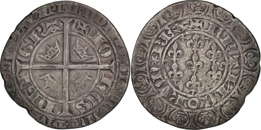 World Coins - France, Jean II, Gros Blanc aux fleurs de lis, , Silver, Duplessy:312
