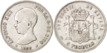 Spain, Alfonso XIII, 5 Pesetas, 1888, Madrid, EF(40-45), Silver, KM:689