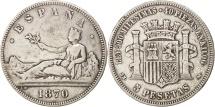 Spain,Provisional Government,5 Pesetas,1870,Madrid,VF(30-35),Silver,KM 655