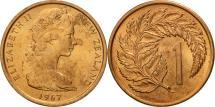 World Coins - New Zealand, Elizabeth II, Cent, 1967, MS(60-62), Bronze, KM:31.1