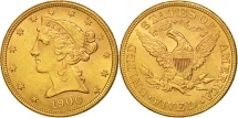 Us Coins - United States, Coronet Head, $5, 1900, U.S. Mint, Philadelphia, KM:101
