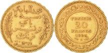 Tunisia, Muhammad al-Hadi Bey, 20 Francs, 1903, Paris, Gold, KM:234
