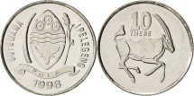 Botswana, 10 Thebe, 1998, British Royal Mint, MS(64), Nickel plated steel, KM:27