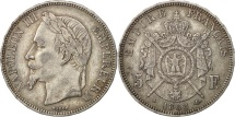 France, Napoléon III, 5 Francs, 1868, Strasbourg, AU(50-53), Silver, KM:799.2