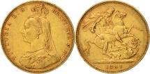 World Coins - Australia, Victoria, Sovereign, 1887, Melbourne, EF(40-45), Gold, KM:10