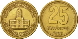 World Coins - Argentina, 25 Centavos, 1992, , Aluminum-Bronze, KM:110.1