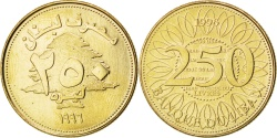 World Coins - LEBANON, 250 Livres, 1996, KM #36, , Aluminum-Bronze, 23.5, 4.91