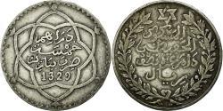 World Coins - Coin, Morocco, 'Abd al-Hafiz, 1/2 Rial, 5 Dirhams, 1911, bi-Bariz, Paris