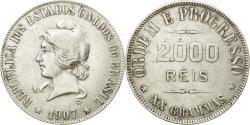 World Coins - Coin, Brazil, 2000 Reis, 1907, VF(30-35), Silver, KM:508