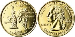 Us Coins - Coin, United States, New York, Quarter, 2001, U.S. Mint, Denver, golden