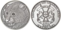 World Coins - Coin, Burkina Faso, Baby Smilodon, 1000 Francs CFA, 1 Silver Oz, 2013