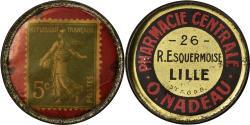 World Coins - Coin, France, Pharmacie Centrale, Nadeau, Lille, 5 Centimes, Timbre-Monnaie