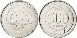 World Coins - LEBANON, 500 Livres, 1996, KM #39, , Nickel Plated Steel, 24.5, 5.98