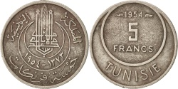 World Coins - Tunisia, Muhammad al-Amin Bey, 100 Francs, 1954, Paris,
