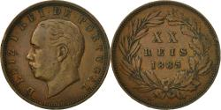 World Coins - Coin, Portugal, Luiz I, 20 Reis, 1885, AU(50-53), Bronze, KM:527