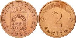 World Coins - Latvia, 2 Santimi, 1992, , Copper Clad Steel, KM:21
