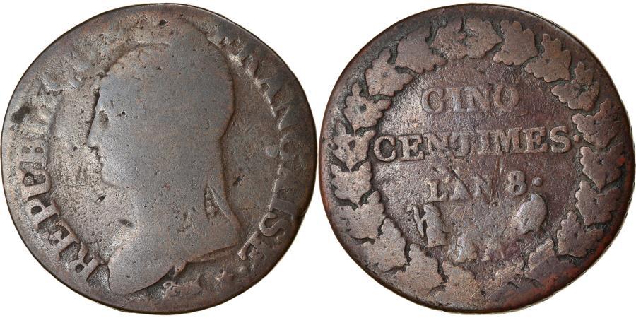 World Coins - Coin, France, Dupré, 5 Centimes, AN 8, Metz, , Bronze, KM:640.2