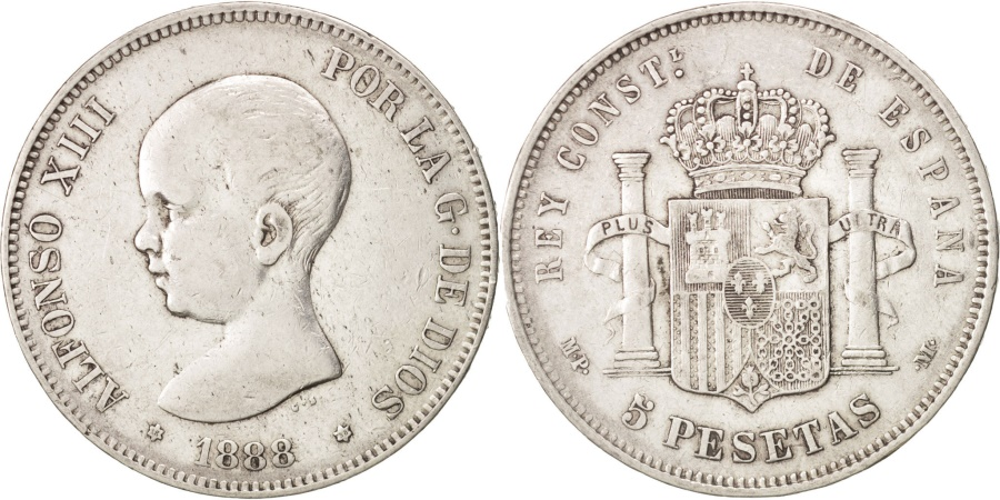 World Coins - Spain, Alfonso XIII, 5 Pesetas, 1888, Madrid, , Silver, KM:689