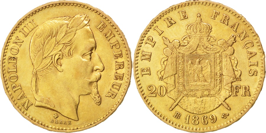 World Coins - FRANCE, Napoléon III, 20 Francs, 1869, Strasbourg, KM #801.2, , Gold, G