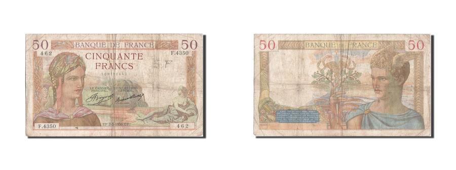 World Coins - France, 50 Francs, 50 F 1934-1940 ''Cérès'', 1936, KM #81, 1936-05-07, VF(20-25)