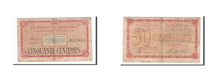 World Coins - France, Clermont-Ferrand, 50 Centimes, VF(30-35), Pirot:103-22