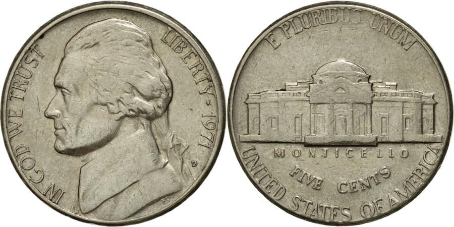 US Coins - Coin, United States, Jefferson Nickel, 5 Cents, 1971, U.S. Mint, Denver