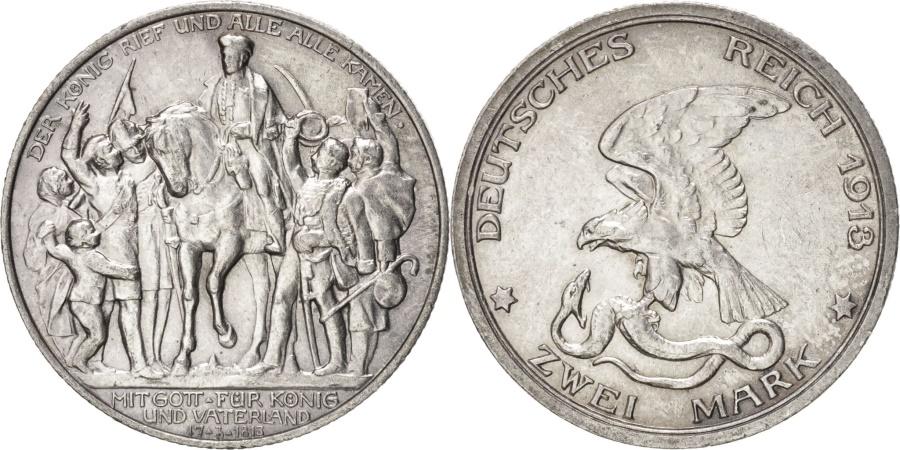 World Coins - German States, 2 Mark, 1913, KM #532, , Silver, 28, 11.10