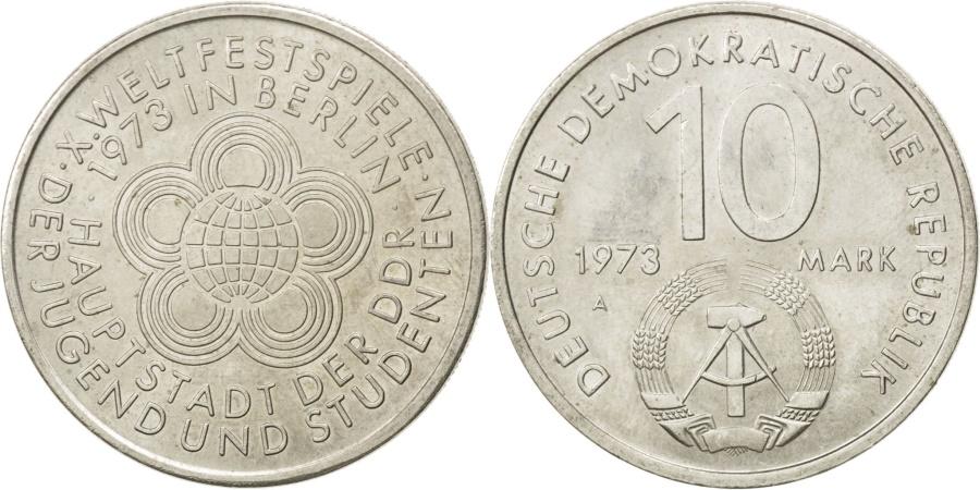 World Coins - GERMAN-DEMOCRATIC REPUBLIC, 10 Mark, 1973, Berlin, KM #44, ,...