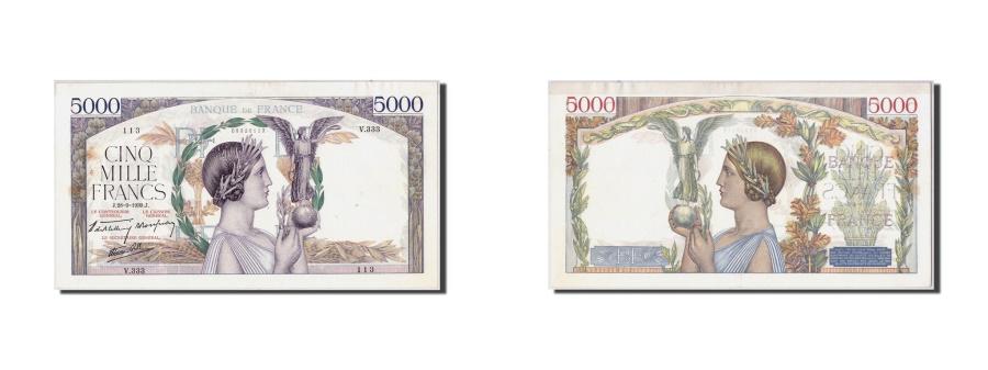 World Coins - France, 5000 Francs Victoire, KM:97a, Fayette:46.12, 1939-09-28, AU(55-58)