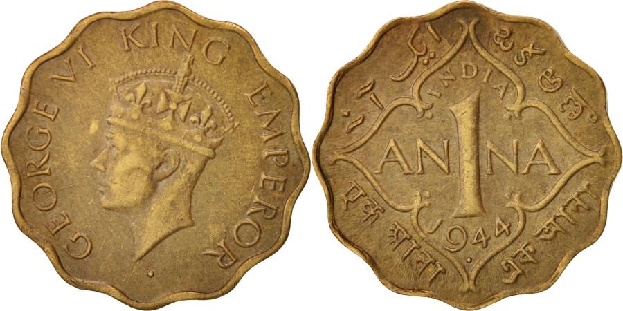 World Coins - INDIA-BRITISH, George VI, Anna, 1944, Bombay, , Nickel-brass, KM:537a