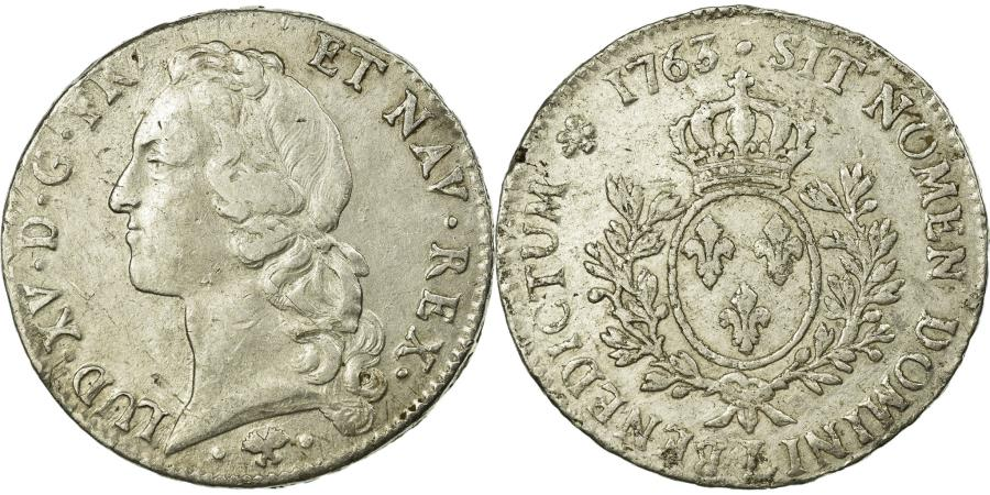 World Coins - Coin, France, Louis XV, Écu au bandeau, Ecu, 1763, Bayonne, EF(40-45), Silver