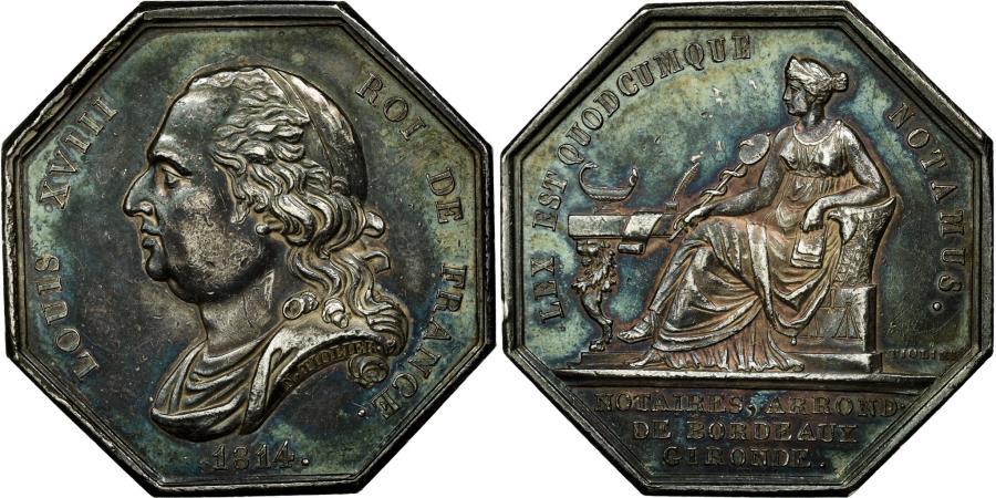 World Coins - France, Token, Louis XVIII, Notaires de l'Arrondissement de Bordeaux, Gironde