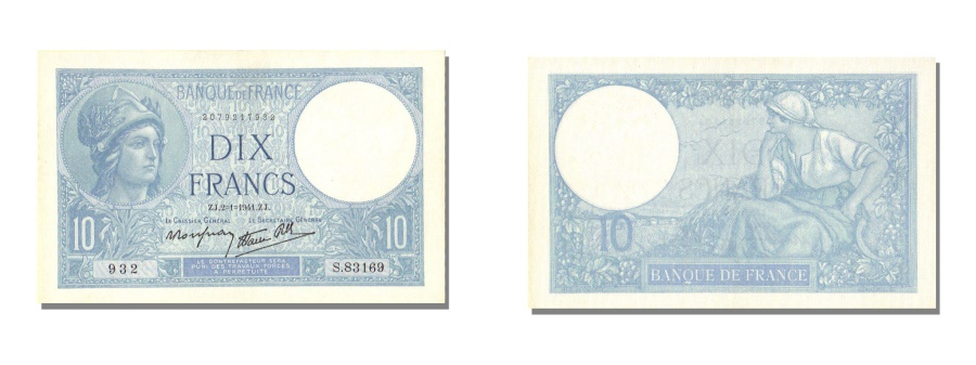 World Coins - France, 10 Francs, 10 F 1916-1942 ''Minerve'', 1941, KM #84, 1941-01-02,...
