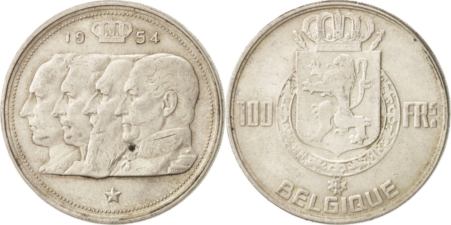 World Coins - Belgium, 100 Francs, 100 Frank, 1954, , Silver, KM:138.1