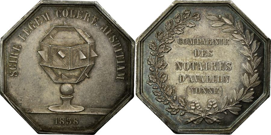 World Coins - France, Token, Notaires de l'Arrondissement d'Avallon, Yonne, 1858,