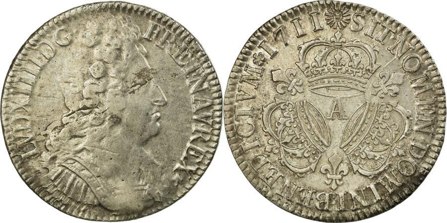 World Coins - Coin, France, Louis XIV, Écu aux 3 couronnes, Ecu, 1711, Paris, VF(30-35)