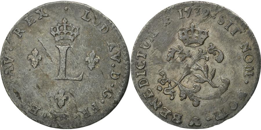 World Coins - Coin, France, Louis XV, Double sol (2 sous) en billon, 1739, Paris, KM 500.1